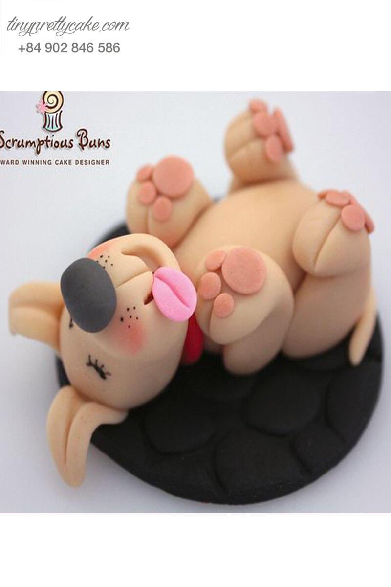 Bánh Cupcake chú chó nâu vui vẻ tặng sinh nhật, thôi nôi các bé