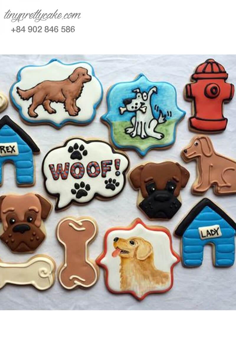 Set 15 Cookie chú chó sói và khúc xương đáng yêu – mừng sinh nhật, thôi nôi các bé