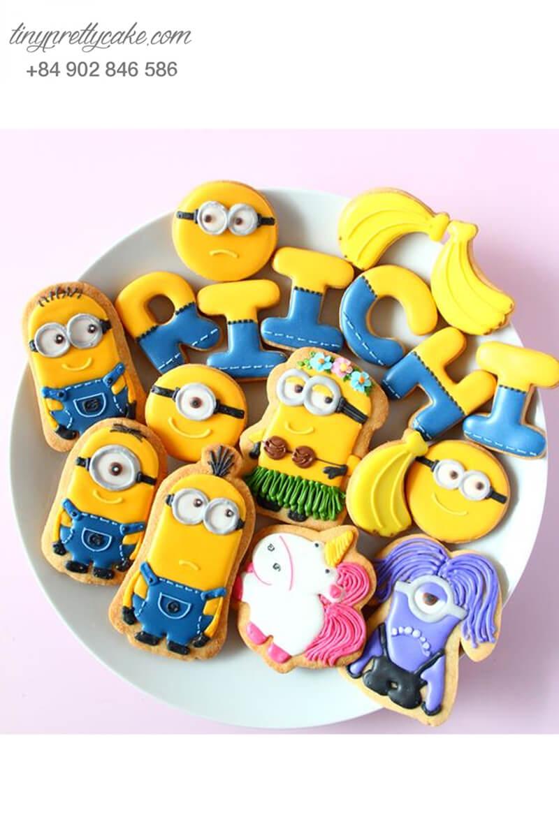 Set 16 cookie Minion chữ Riichi cùng những người bạn - mừng sinh nhật cho các bé