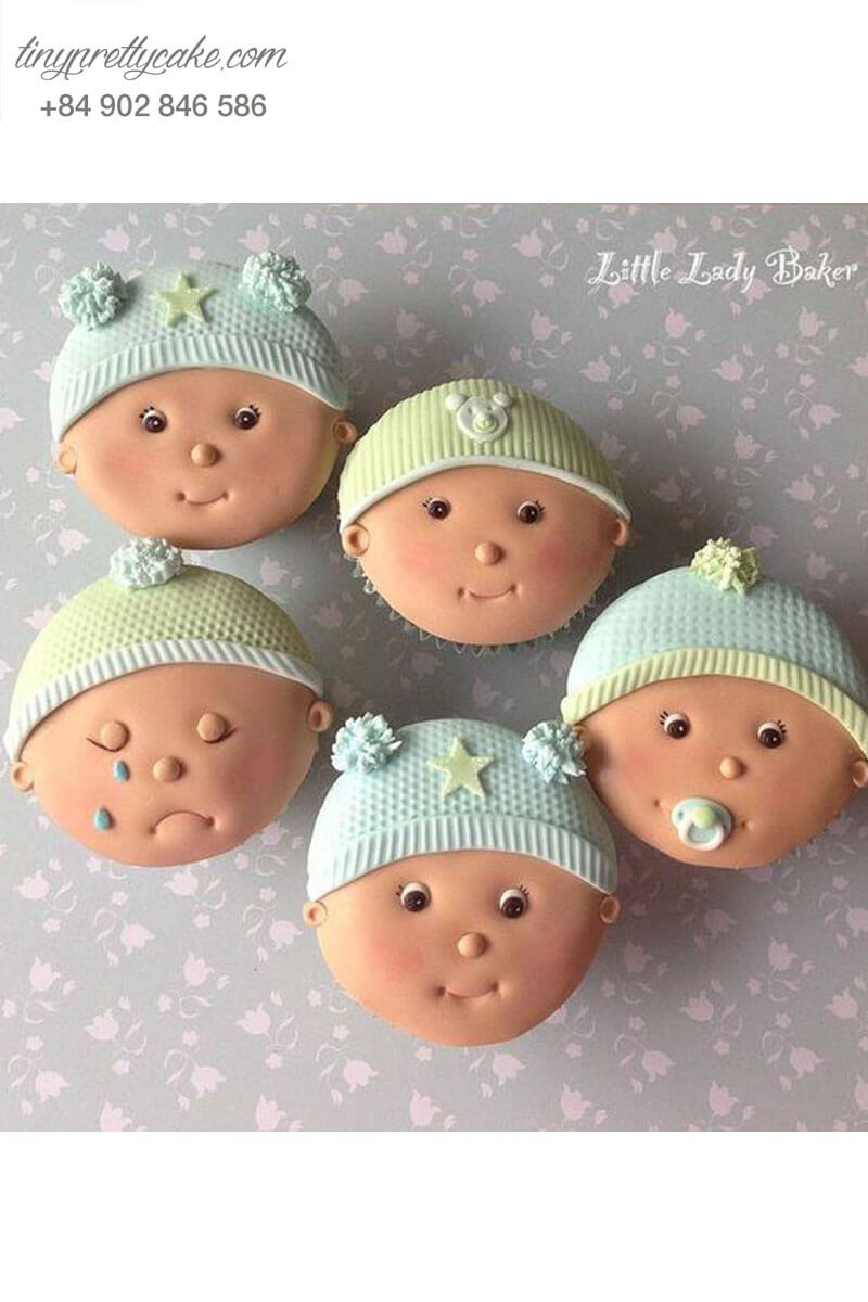 Set 5 Cupcake hình em bé với những gương mặt ngây thơ mừng sinh nhật các bé