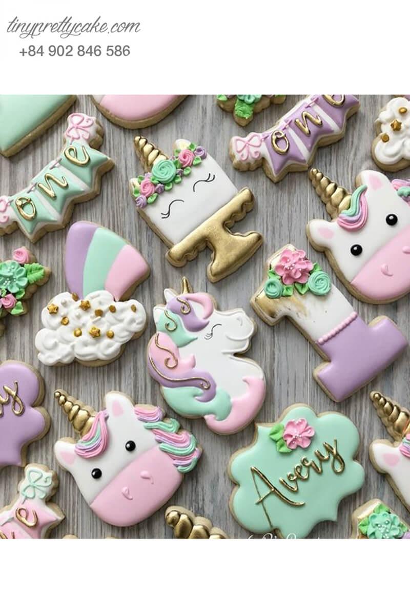 Set 11 Cookie tạo hình Unicorn pastel siêu yêu - mừng sinh nhật cho bé gái