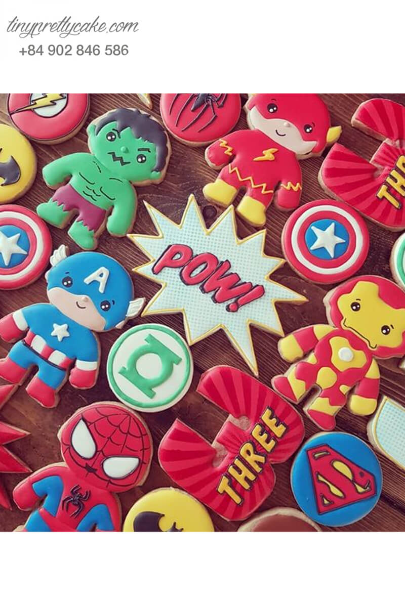 Set 15 Cookie siêu anh hùng Avenger cực đáng yêu, mừng sinh nhật bé trai