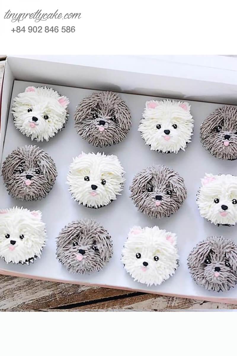Set 12 cupcake cặp đôi chó con mừng sinh nhật, thôi nôi các bé