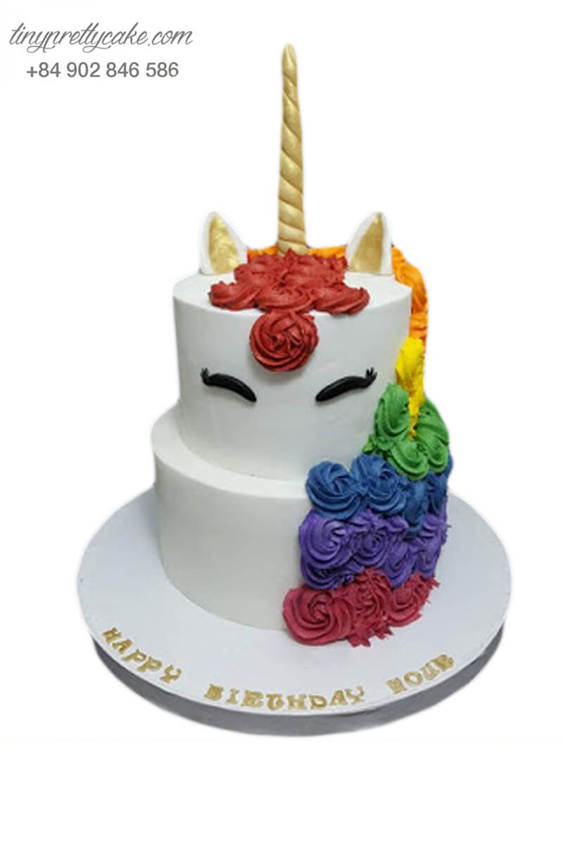 bánh kem 2 tầng Unicorn cho bé gái