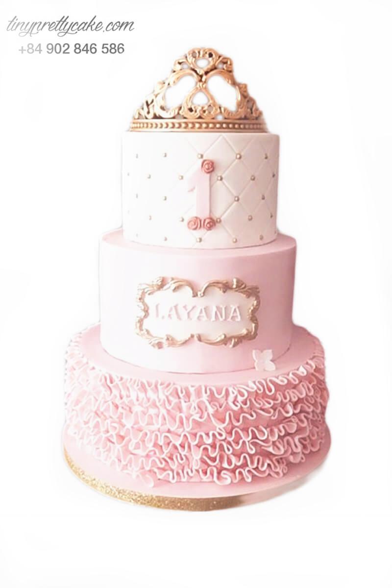 bánh kem 3 tầng vương miện công chúa