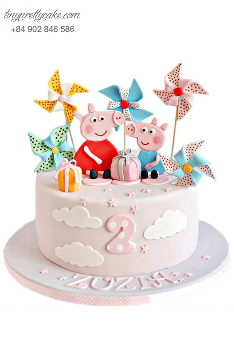 Bánh gato hình chú heo Peppa đám mây và chong chóng, mừng sinh nhật, đầy tháng các bé
