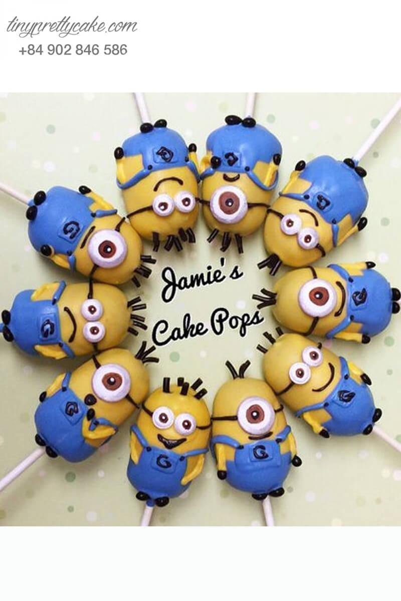 Set 10 bánh cakepop tạo hình Minion dễ thương để trang trí tiệc sinh nhật cho các bé