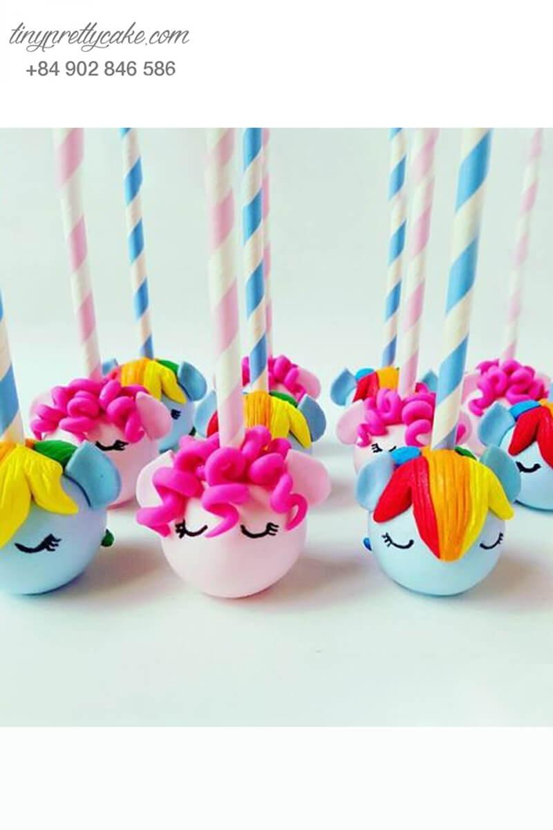 Set 12 bánh cakepop hình ngựa Pony Unicorn sắc màu dễ thương dành tặng bé gái ngày sinh nhật