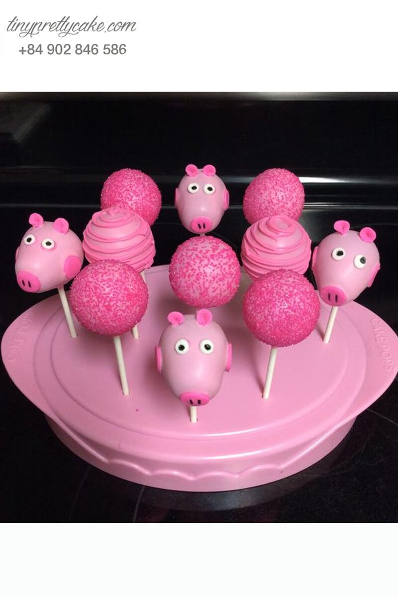 Set 11 bánh cakepop tạo hình chú heo Peppa hồng siêu yêu cùng tiểu cầu nhỏ xinh để trang trí tiệc sinh nhật, đầy tháng cho bé gái