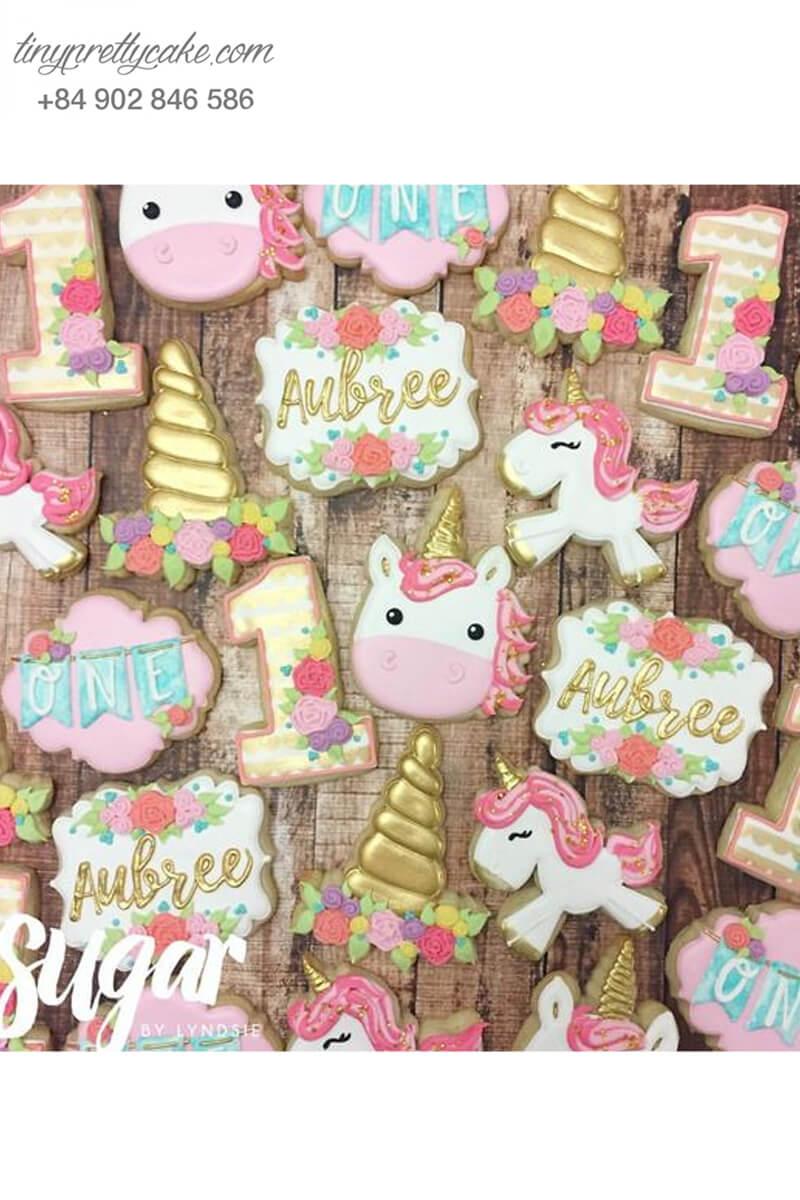 Set 20 Cookie hình Unicorn hoa cổ điển dễ thương - mừng sinh nhật bé gái.