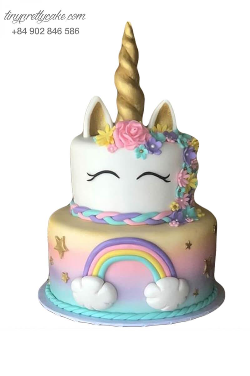 bánh kem 2 tầng Unicorn xinh đẹp