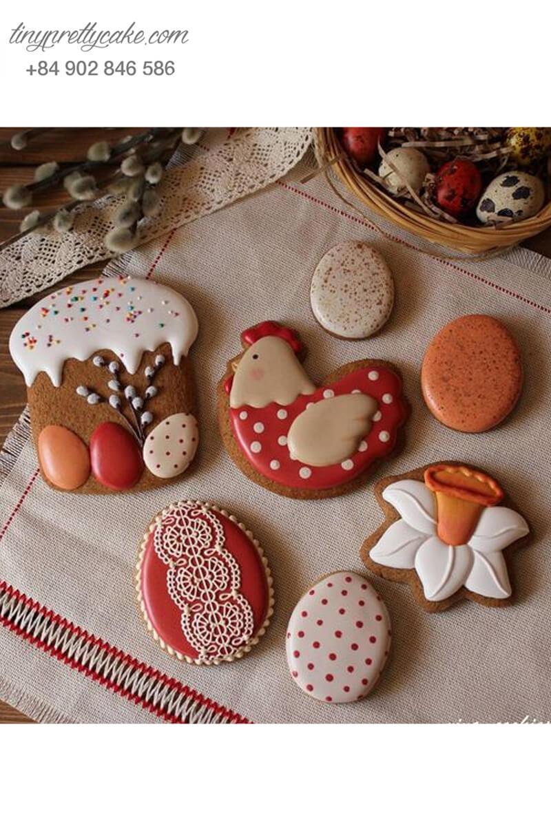 Set 7 Cookie gà đỏ chấm bi đáng yêu – mừng sinh nhật, đầy tháng bé gái