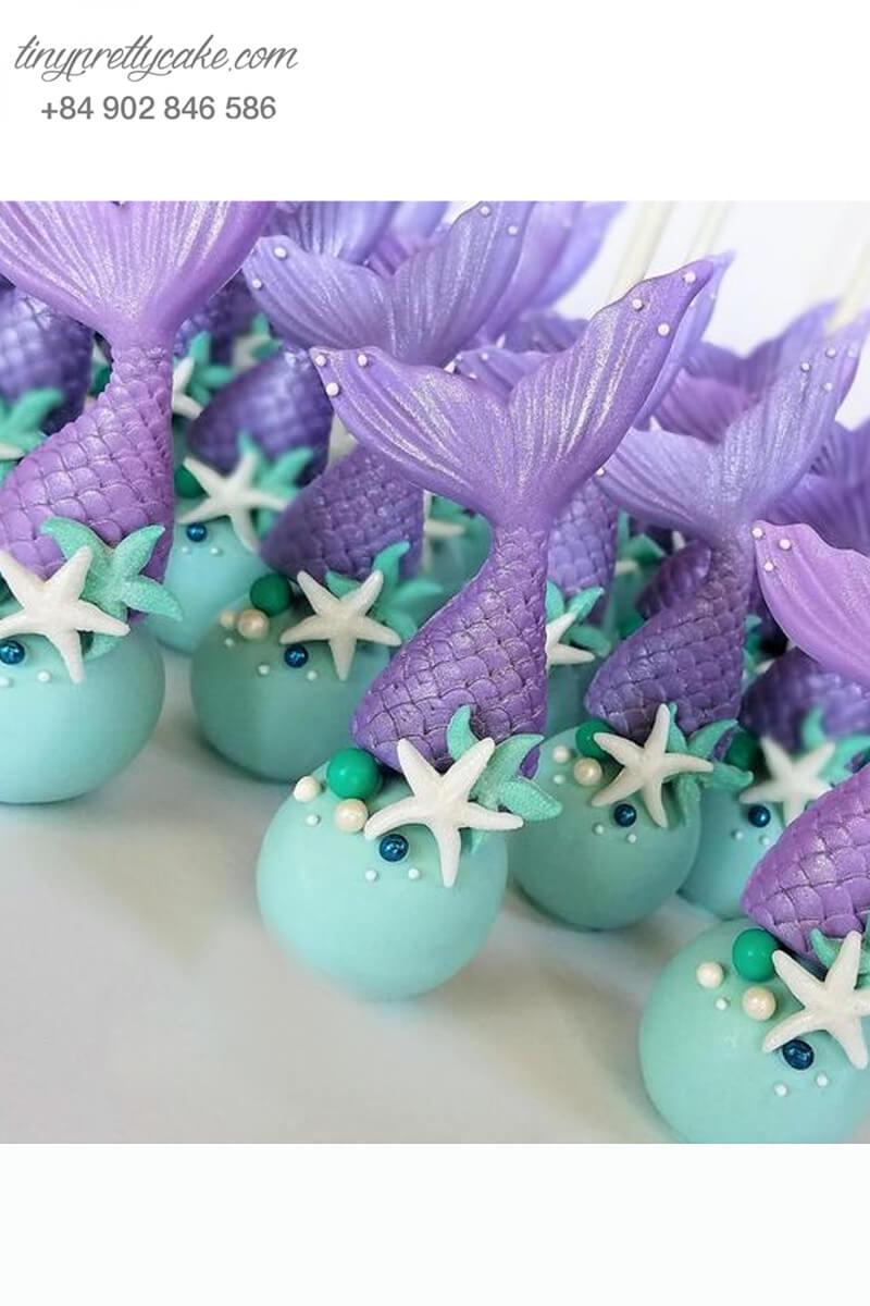Bánh cakepop tạo hình đuôi nàng tiên cá và sao biển dễ thương mừng sinh nhật bé gái