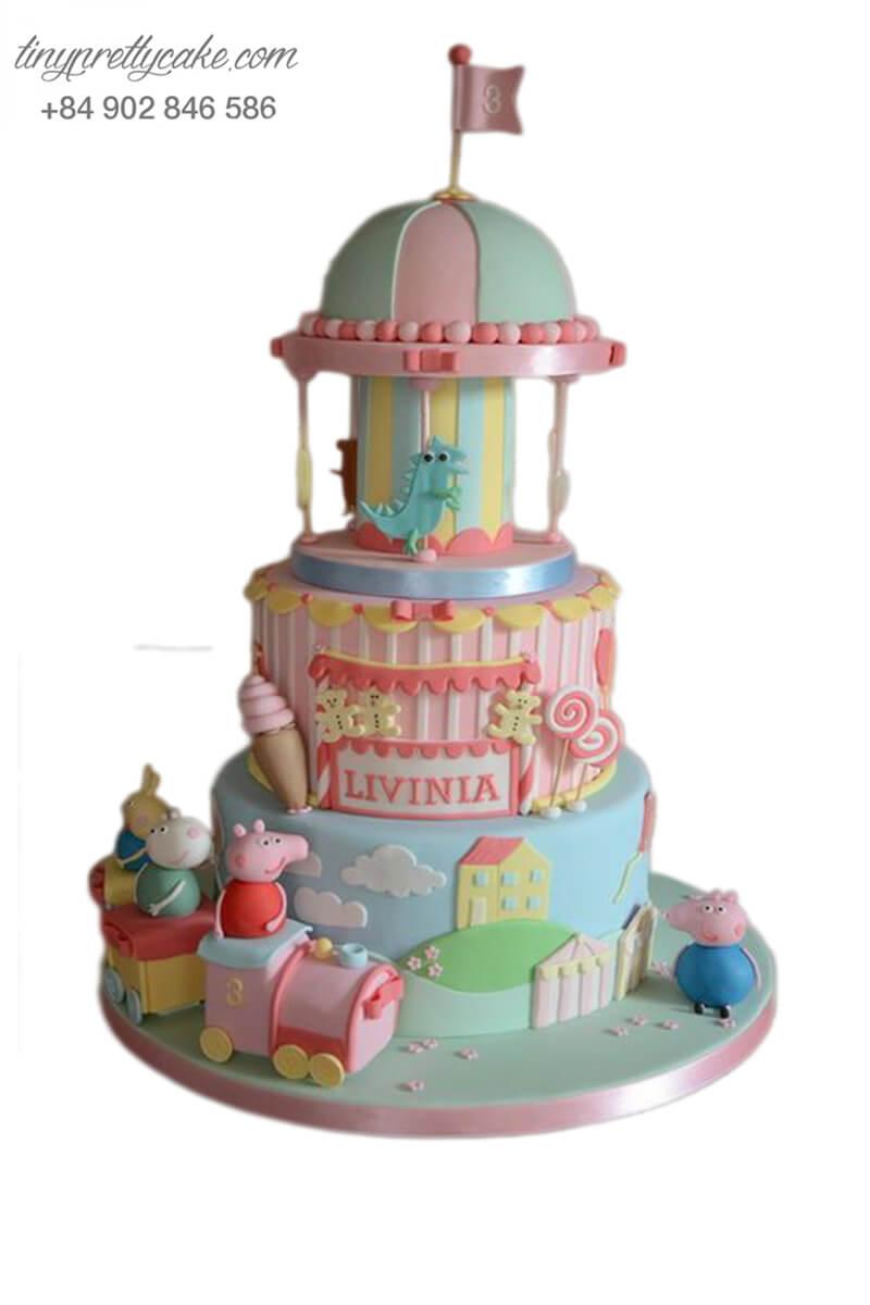 Bánh gato đoàn tàu xe lửa cùng lâu đài cực hoành tráng của những chú heo, mừng sinh nhật, đầy tháng cho các bé