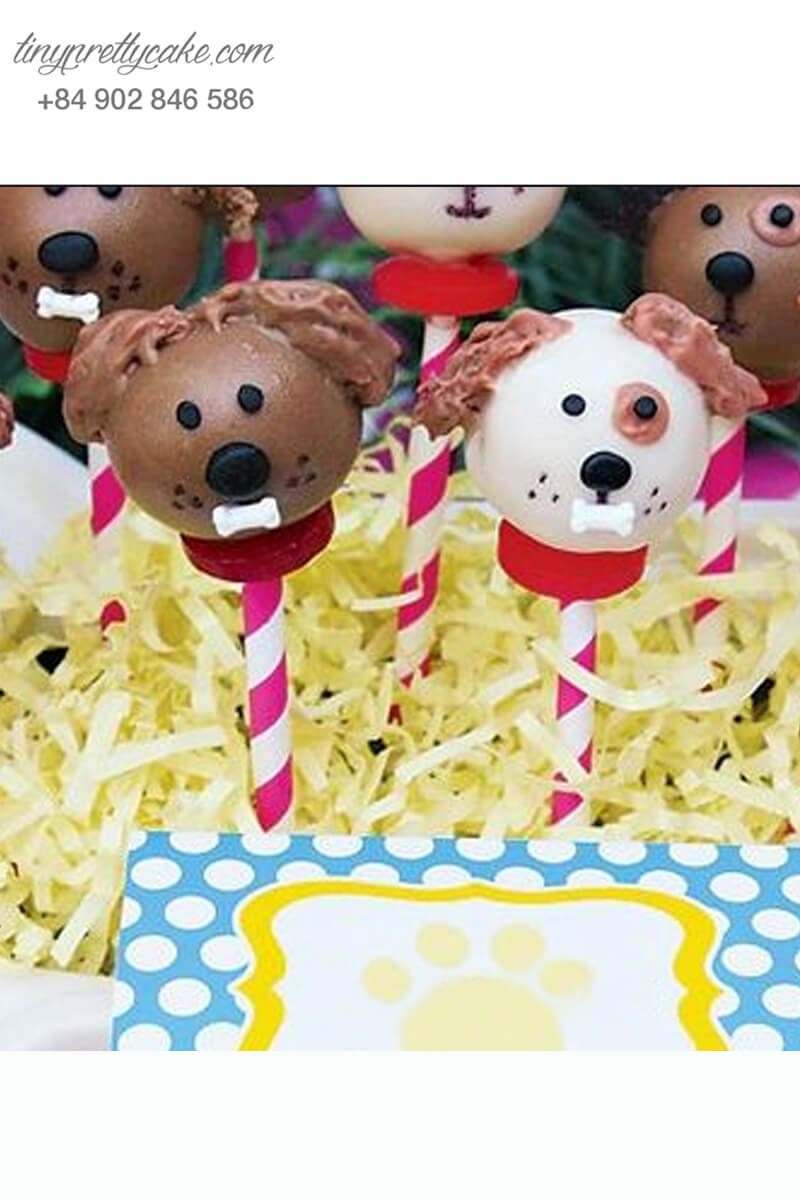 Set 10 bánh cakepop tạo hình chó Puppy siêu đáng yêu để trang trí tiệc sinh nhật, thôi nôi cho các bé