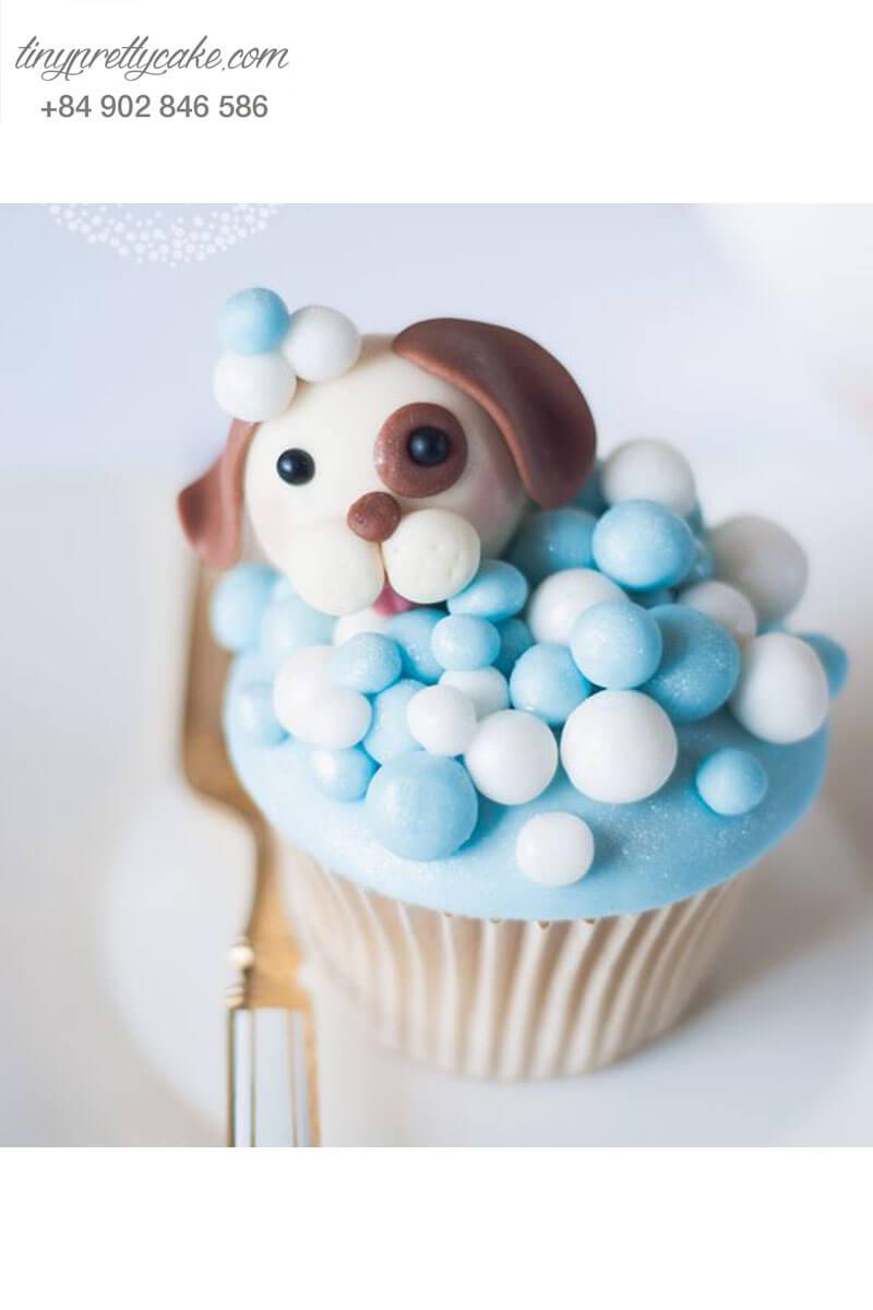 Bánh Cupcake chú chó đáng yêu tặng sinh nhật, thôi nôi các bé