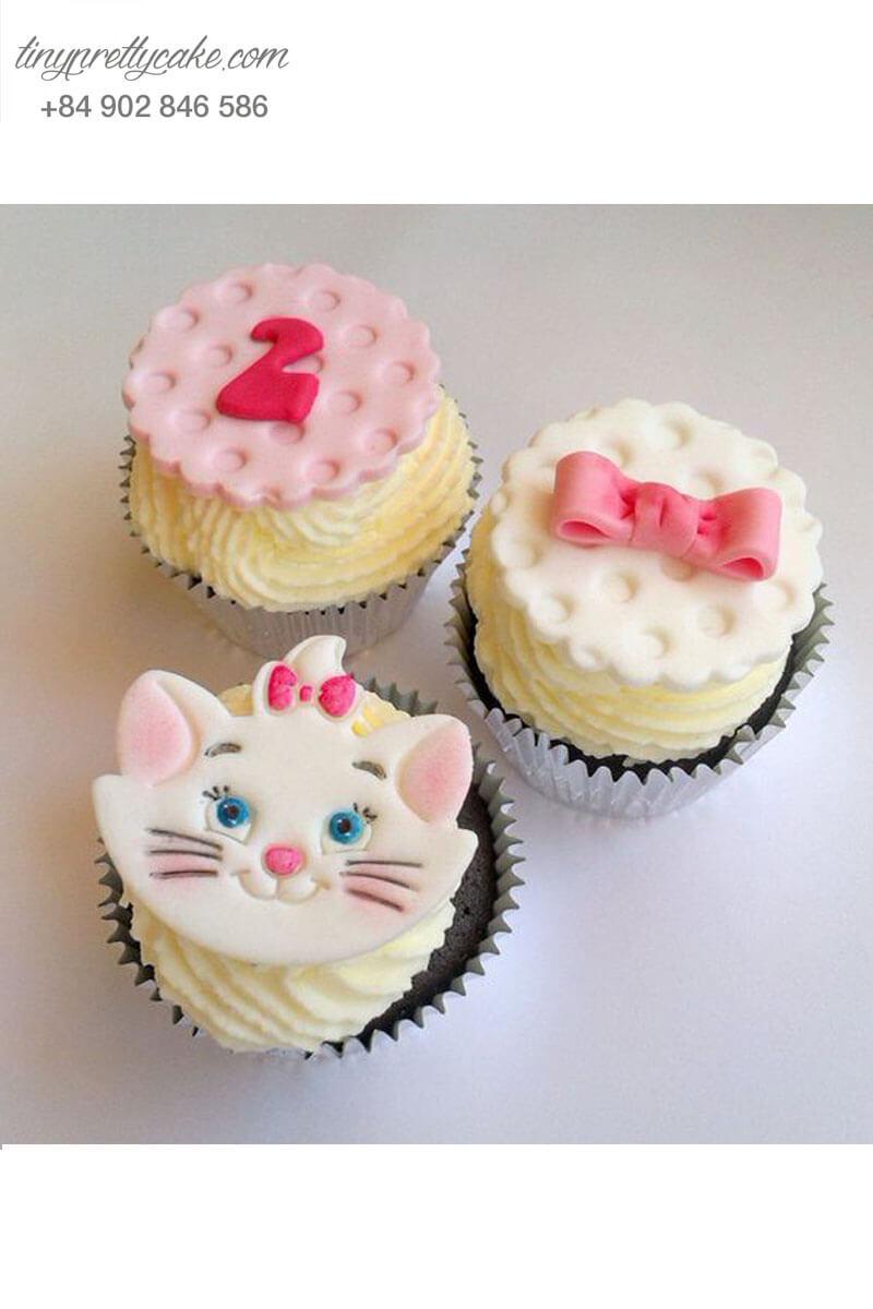 Set 3 bánh Cupcake bé mèo đáng yêu dành tặng các bé gái