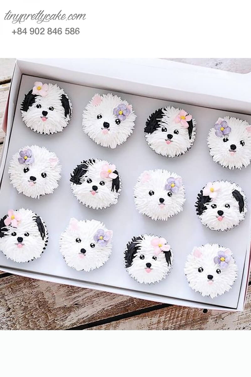 Set 12 Cupcake chú nhỏ nhỏ nhắn mừng sinh nhật, thôi nôi các bé