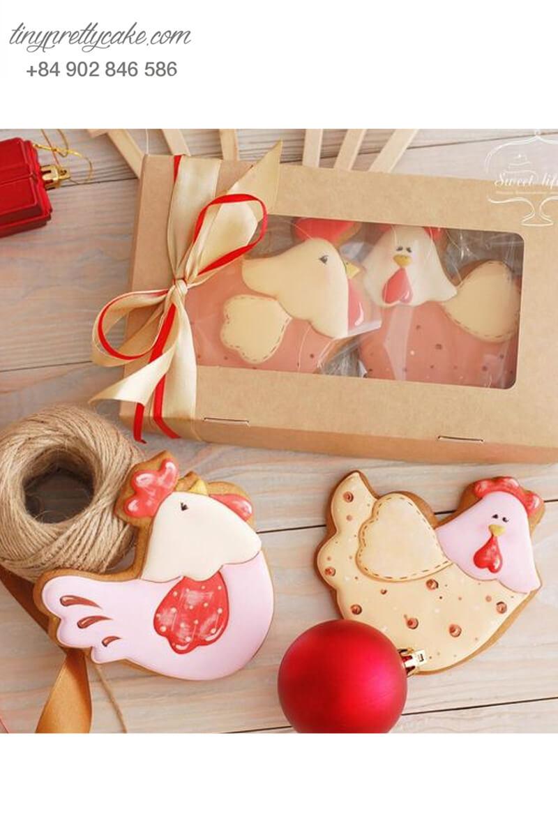 Set 2 Cookie gà nơ đỏ siêu xinh – mừng sinh nhật và đầy tháng bé gái