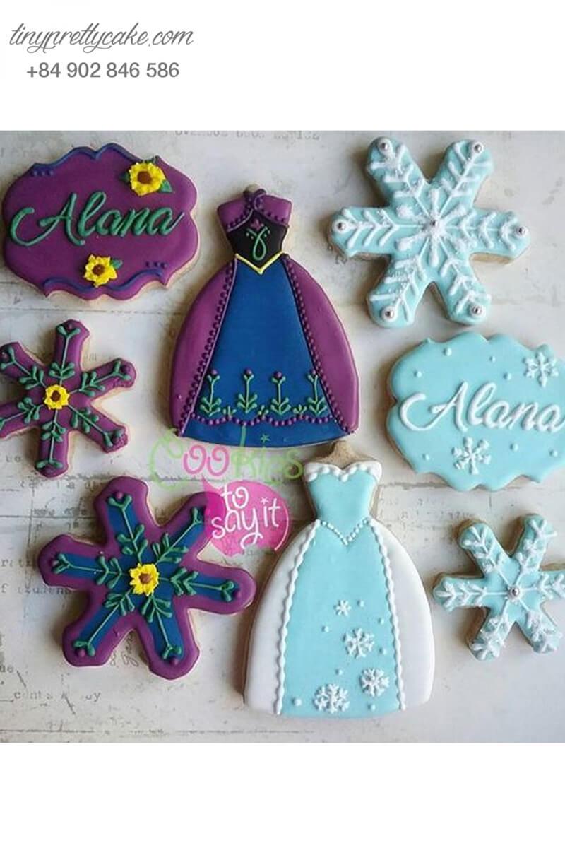 Set 8 Cookie hình trang phục của Elsa & Anna - mừng sinh nhật bé gái