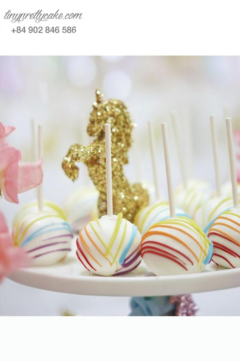 Bánh cakepop hình ngựa Pony Unicorn sắc màu dễ thương dành tặng bé gái