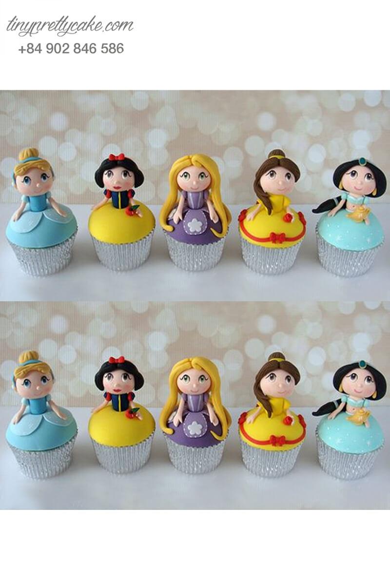 Set 5 cupcake những nàng công chú nổi tiếng cực cute cho các bé gái