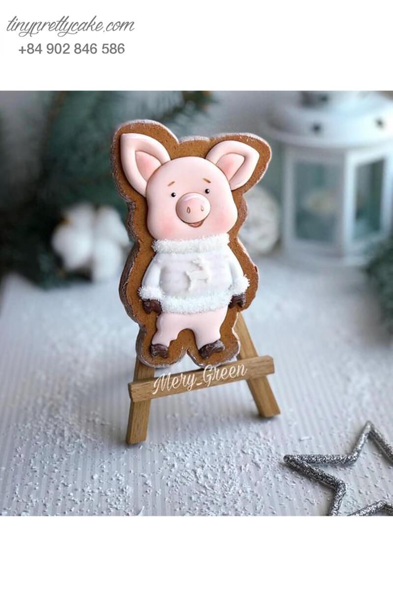 Cookie heo hồng áo trắng vui vẻ - mừng sinh nhật, đầy tháng các bé