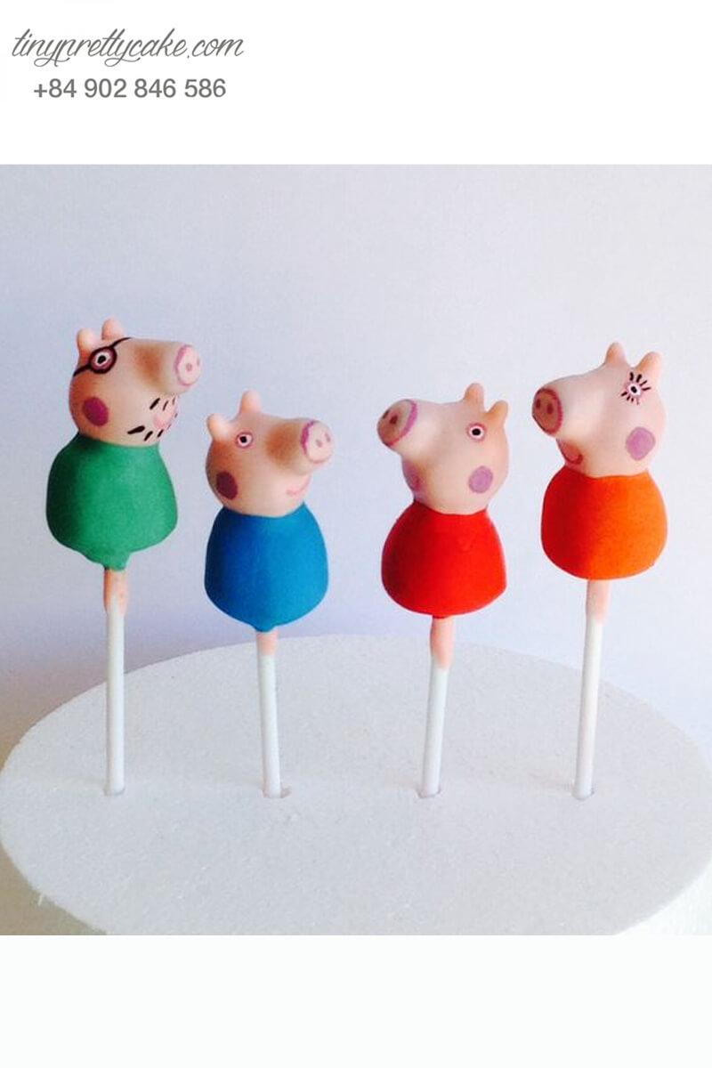 Set 4 bánh cakepop tạo hình chú heo hồng ngộ nghĩnh để trang trí tiệc sinh nhật, đầy tháng cho các bé