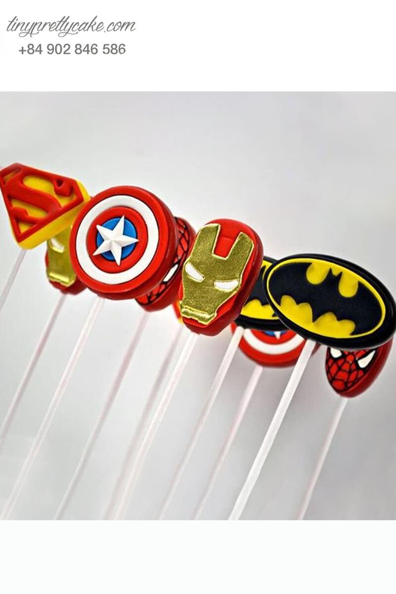 Set 9 Bánh cakepop tạo hình biểu tượng các siêu anh hùng Avenger dành cho các bé trai ngày sinh nhật