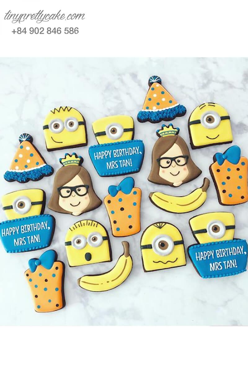 Set 16 cookie Minion Kevin và Madge Nelson mừng sinh nhật các bé