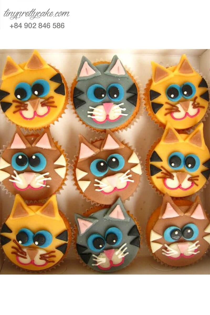 Set 9 cupcake chú mèo hoạt hình ngố tàu mừng sinh nhật các bé gái