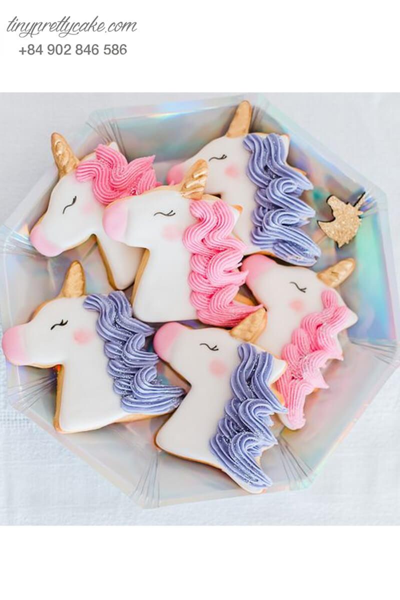 Cookie hình Unicorn bờm đôi ngộ nghĩnh - mừng sinh nhật bé gái.