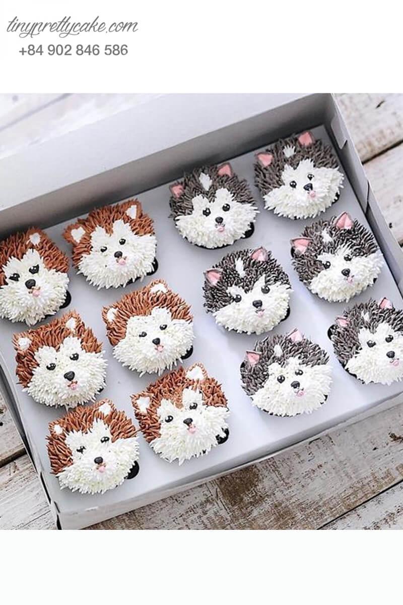 Set 12 cupcake cặp đôi chú chó tinh nghịch mừng sinh nhật, thôi nôi các bé