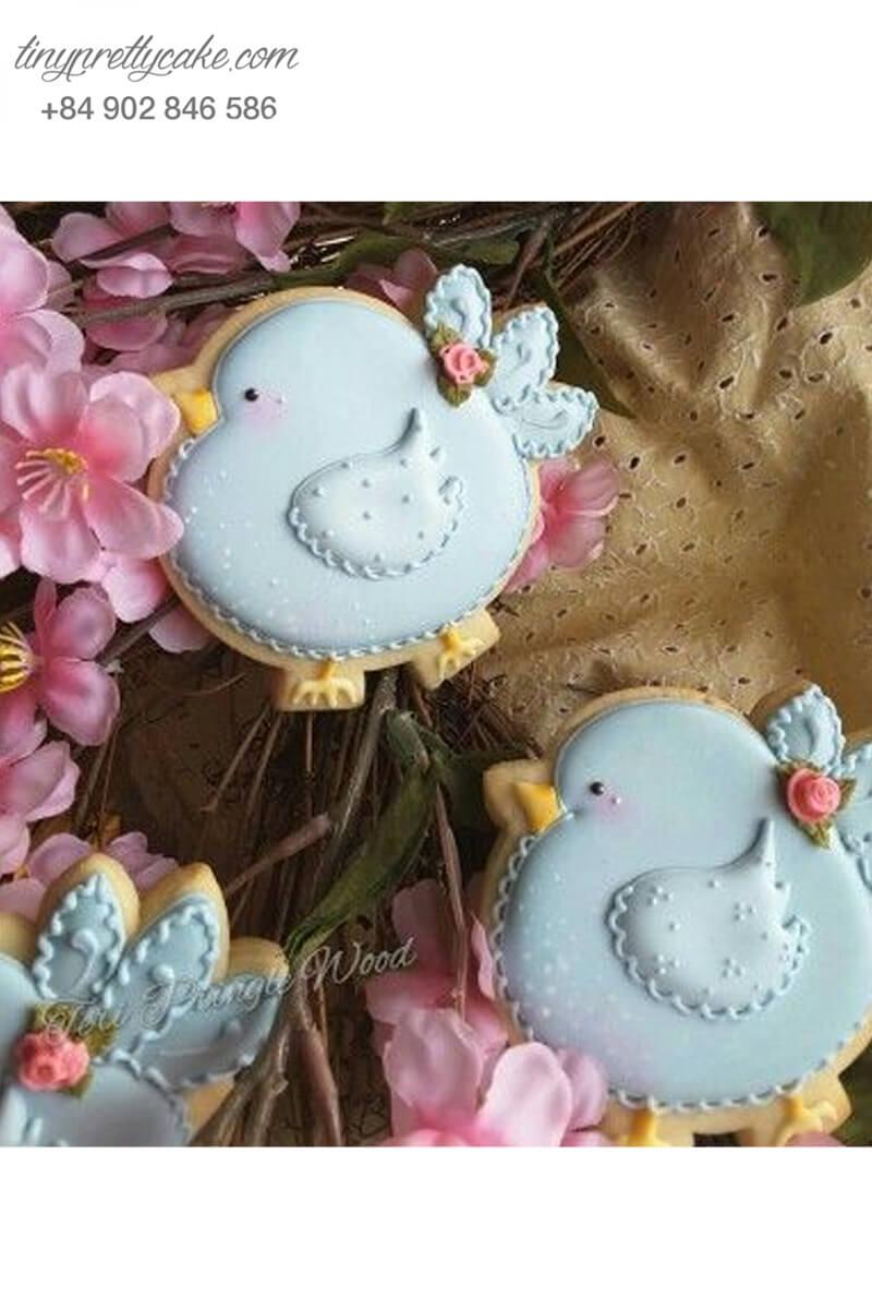 Cookie gà béo xanh pastel dễ thương – mừng sinh nhật, đầy tháng bé gái
