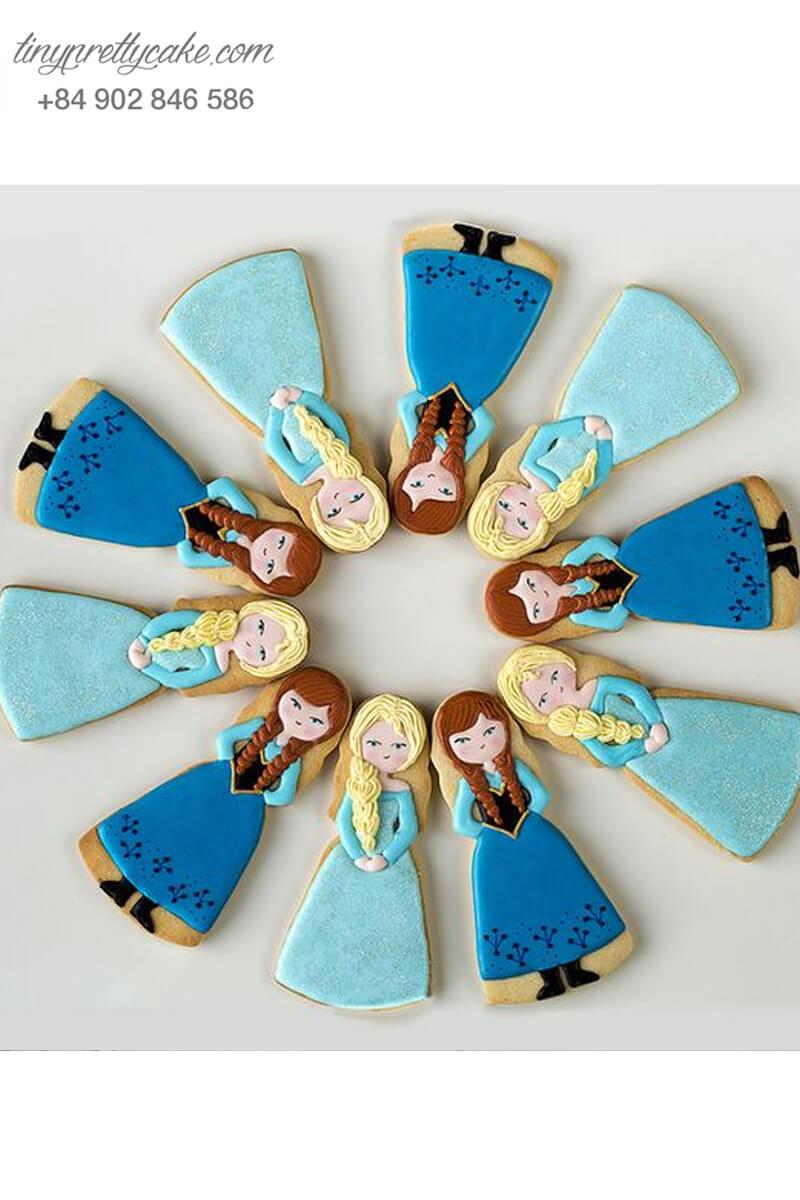 Set 10 Cookie chibi Elsa & Anna dễ thương - mừng sinh nhật bé gái