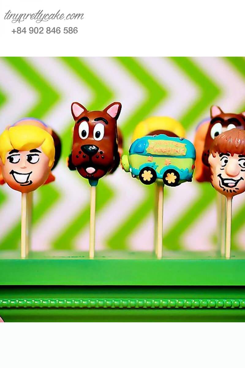 Set 7 Bánh cakepop tạo hình Scooby Doo dễ thương để trang trí tiệc sinh nhật, thôi nôi cho các bé