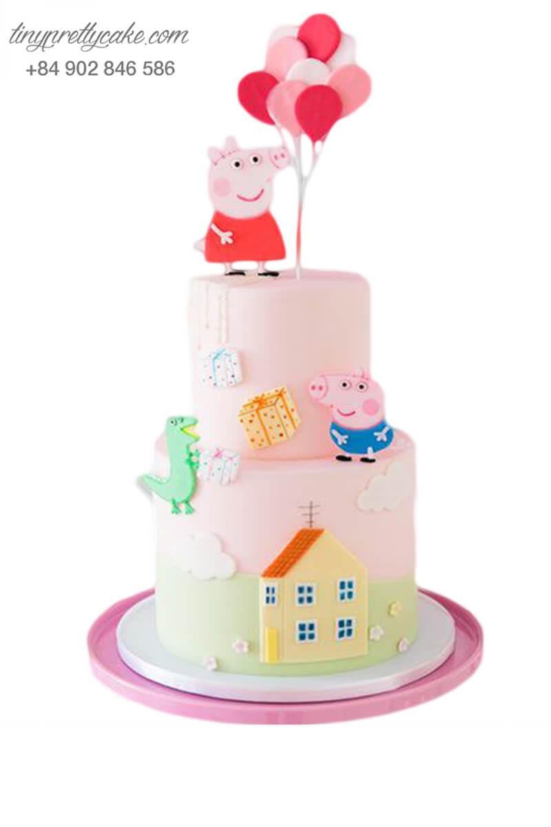 Gato tạo hình ngôi nhà 2 tầng của chú heo Peppa và bong bóng - mừng sinh nhật, đầy tháng cho các bé