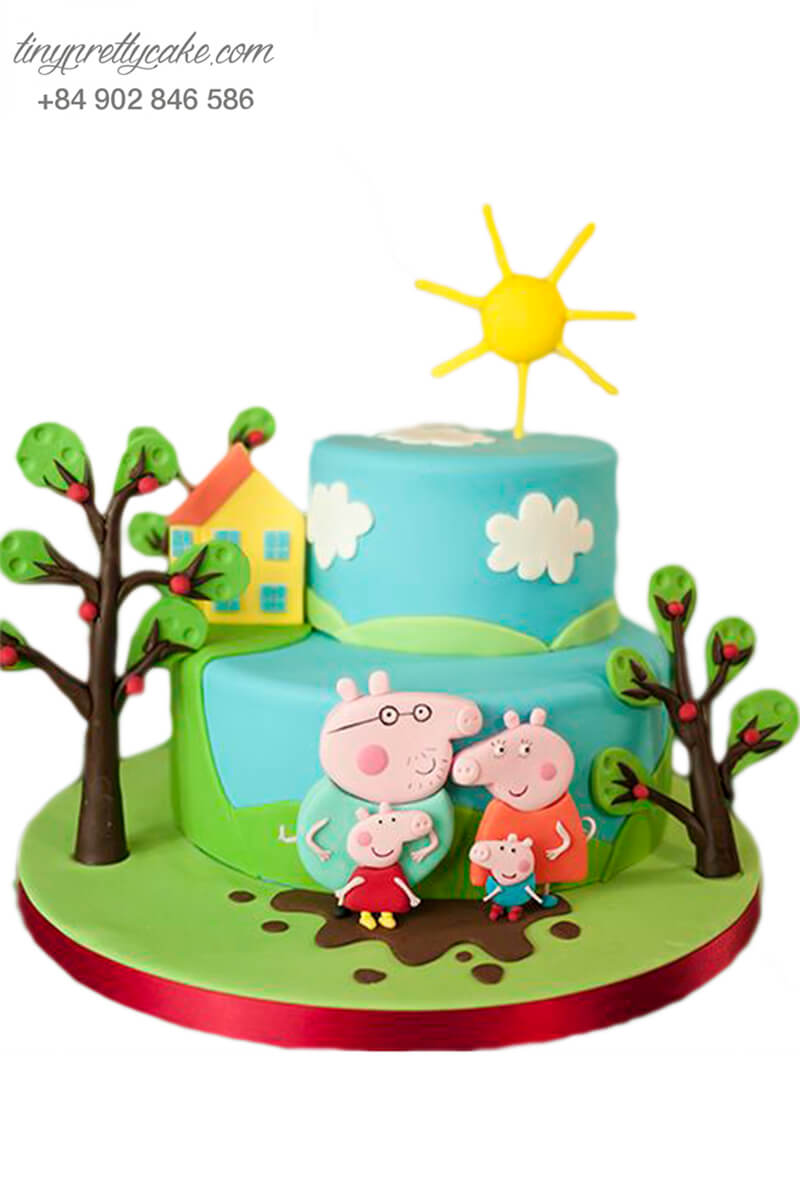 Gato gia đình heo hạnh phúc và ngôi nhà nhỏ xinh, mừng sinh nhật, đầy tháng cho các bé