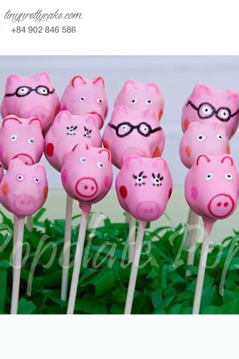 Set 18 bánh cakepop tạo hình sắc thái chú heo Peppa đáng yêu để trang trí tiệc sinh nhật, đầy tháng cho các bé