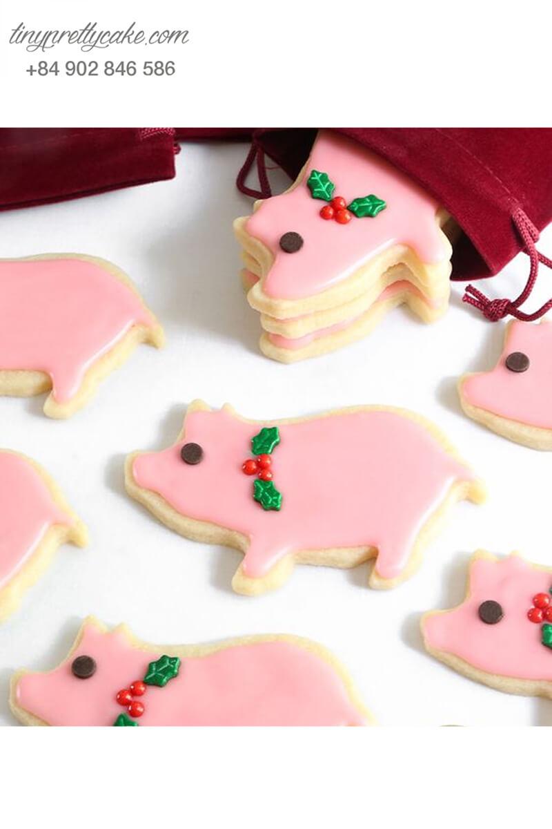 Cookie bé heo hồng vòng nguyệt quế - mừng sinh nhật, đầy tháng các bé