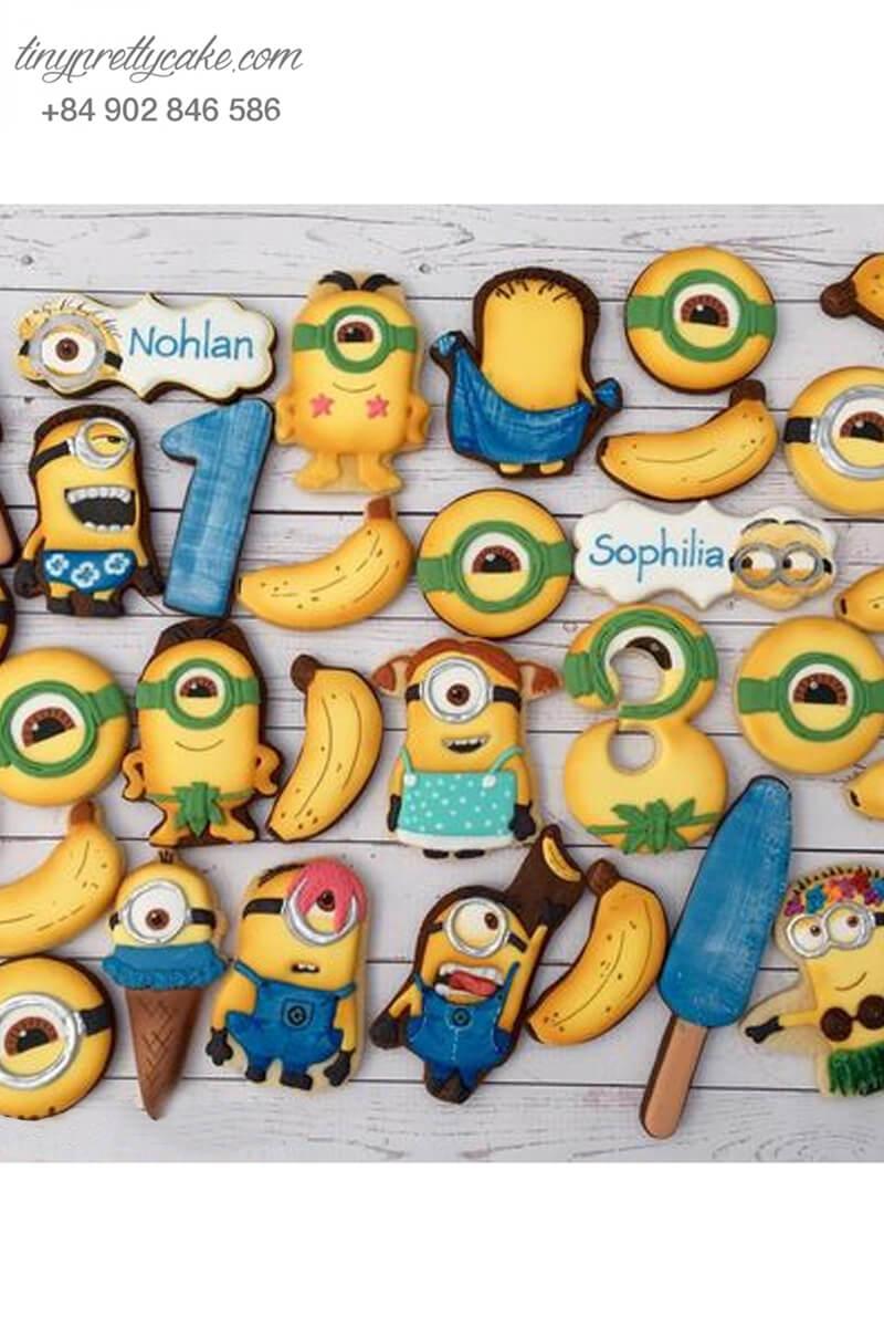 Set 30 cookie Minion trái chuối ngộ nghĩnh dễ thương, mừng sinh nhật các bé