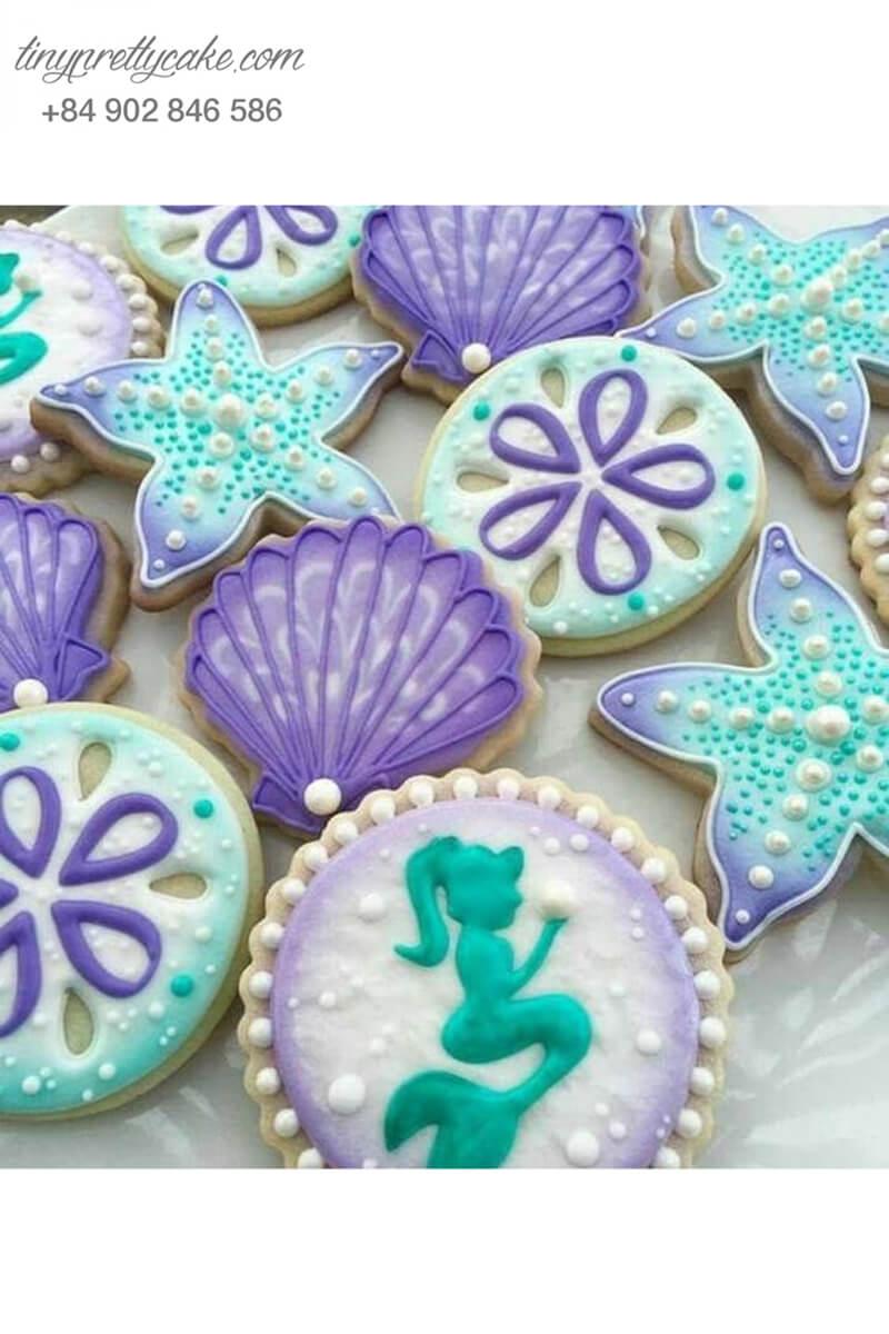 Set 12 Cookie sao biển tím dễ thương - mừng sinh nhật bé gái
