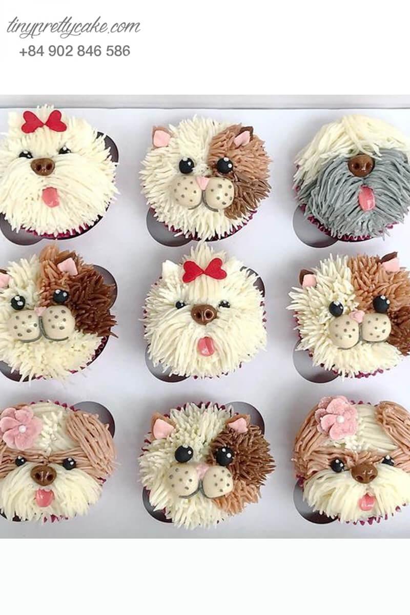 Set 9 cupcake những chú chó mừng sinh nhật, thôi nôi các bé
