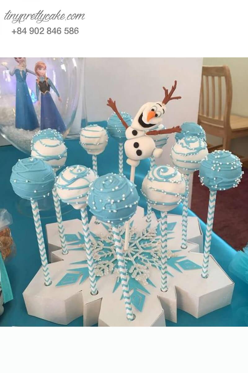 Set 11 Bánh cakepop tạo hình quả cầu tuyết và Olaf nhí nhố dành tặng các bé nhân dịp sinh nhật