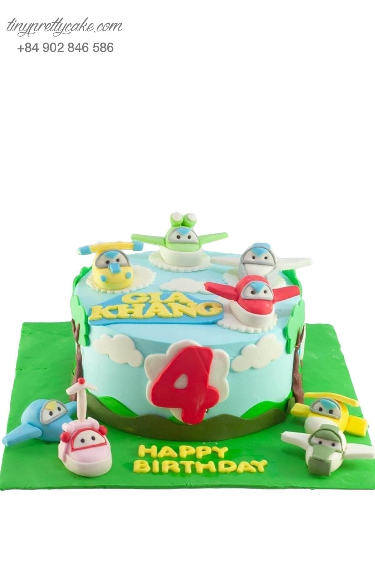 Bánh sinh nhật biệt đội máy bay Super Wing cho bé trai