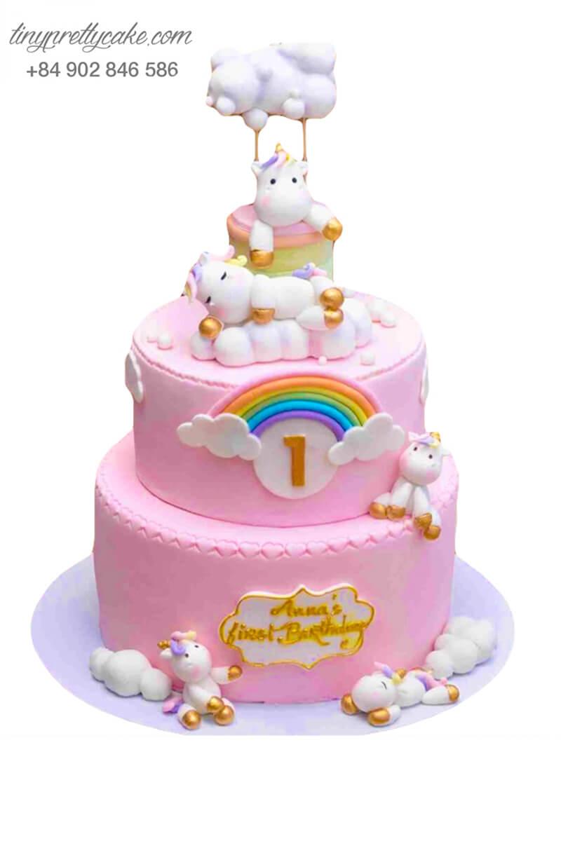 bánh kem 2 tầng Unicorn màu hồng ngọt ngào