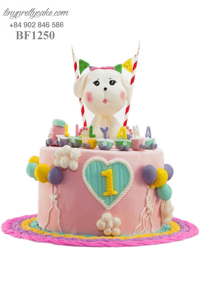 Bánh kem hình cún con siêu đáng yêu dành tặng sinh nhật, thôi nôi cho các bé