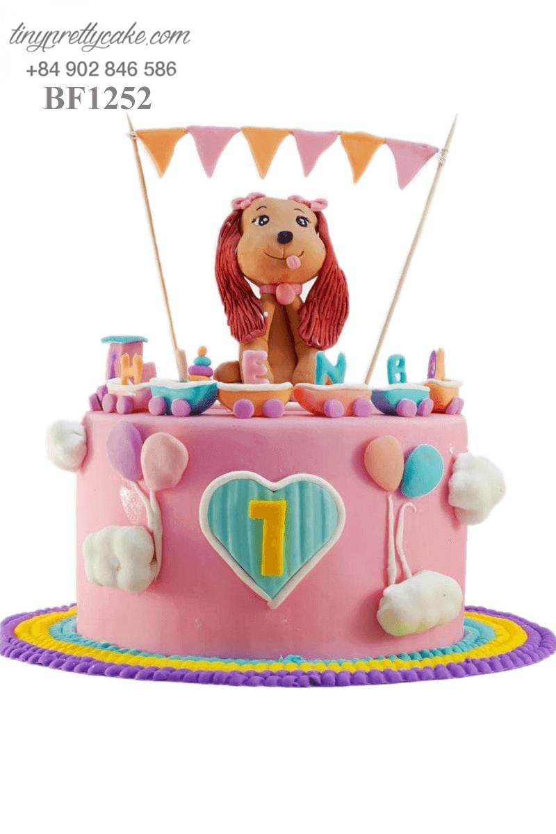 Bánh kem hình cún con tóc bím ngộ nghĩnh tặng sinh nhật bé gái