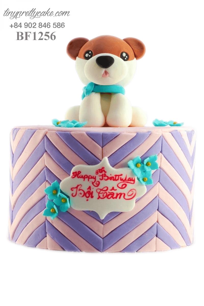 Bánh kem hình chú chó ngơ ngác dành tặng sinh nhật các bé