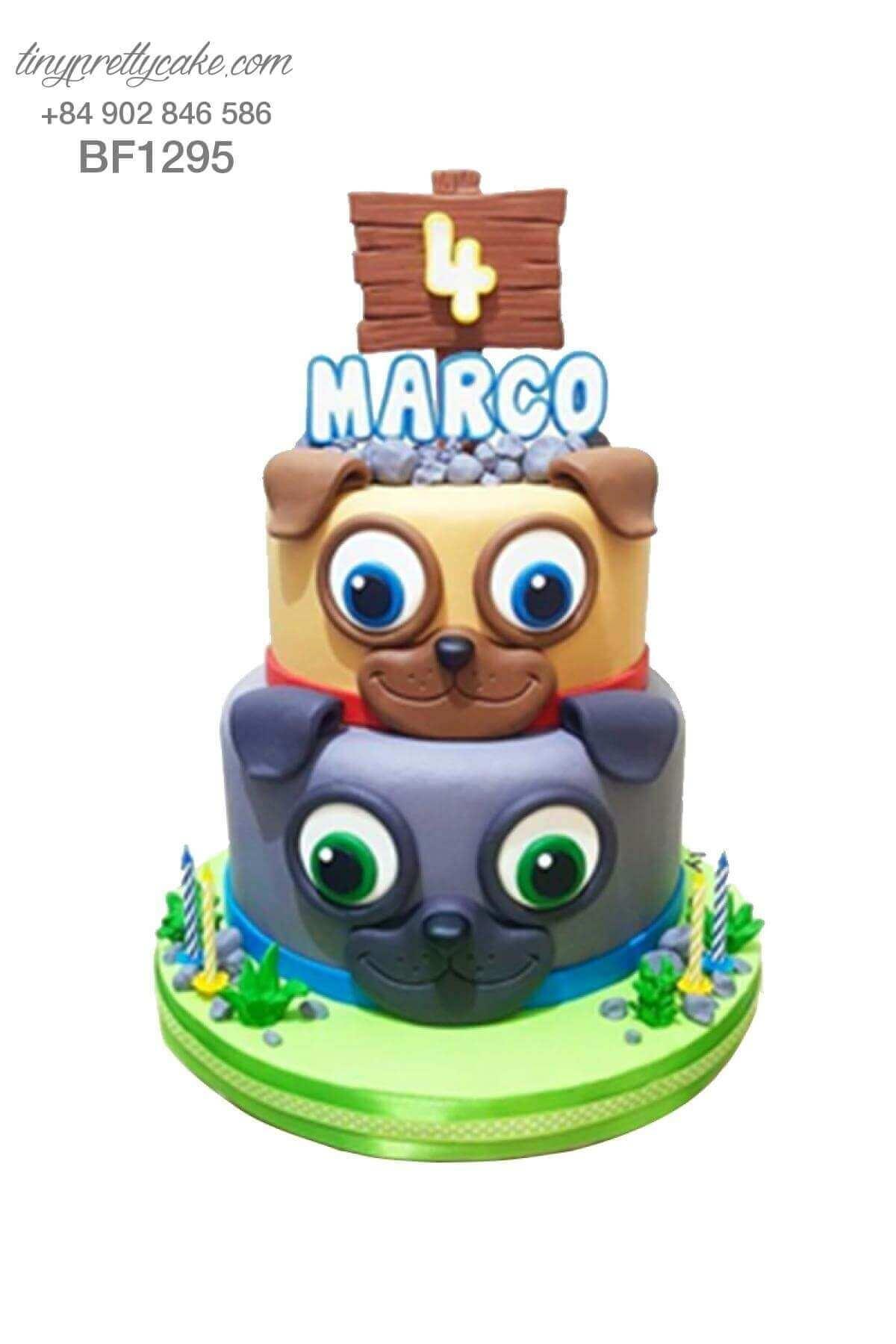 bánh sinh nhật 2 tầng tạo hình con chó
